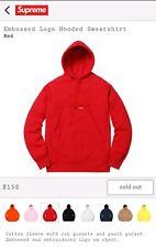 Supreme Red Embossed Box Logo Hooded Sweatshirt Hoodie Size XL