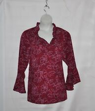 Belle by Kim Gravel V-neck Woven Blouse with Bell Sleeves Size 1X Red