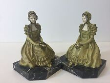Pair Antique c.1926 Wait Here Ivorine Faces J.B. Hirsch Belle Spelter Bookends
