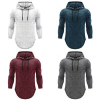 Men's Basic Long Sleeve Hoodie Hooded Tops Shirts Muscle Casual Fit T-shirt Slim