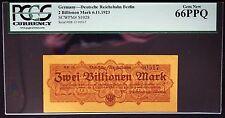 BERLIN 1923 2 Trillion Mark Reichsbahn Railroad PCGS 66 PPQ GEM UNC Germany