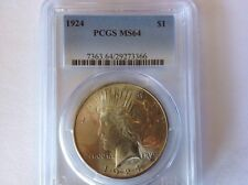 1924 $1 Peace Dollar PCGS MS 64, Free Shipping, Lot B 11