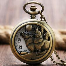 Retro Wolf Dog Moon Pendant Men Women Quartz Analog Pocket Watch Necklace Gift