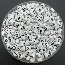 100pcs 7mm Greek Letter Beads Round Acrylic Spacer Beads For Jewelry Making