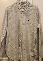Ralph Lauren Polo Men's Classic Fit Large White Blue Plaid Button Down Shirt
