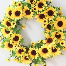 Artificial Sunflower Wreath Garland Leaves Door Home Garden Party Decoration