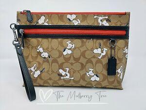Coach X Peanuts Snoopy Sport Carryall Pouch Signature Canvas Khaki 5734 $278