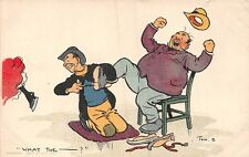 POSTCARD   COMIC   TOM  BROWNE   JOLLY  SKATERS    What  the  ......