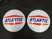 Vintage NOS Atlantic Glass Gas Pump Signs Set of Two