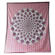 Couverture indienne Tenture Plume de Paon rose bordeaux 230x210 cm
