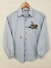 Vintage Looney Tunes Denim Embroidered Button Up Long Sleeve Shirt Size S