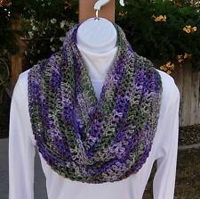 SUMMER SCARF Infinity Loop Purple Green Soft Handmade Lightweight Crochet Knit