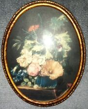 Picture of Flowers in Blue Vase, (under glass) in a frame within frame