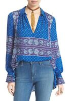Free People Changing Times Tunic Top Blouse Size XS Blue Floral Print Purple