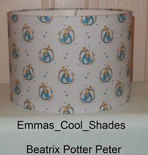 Beatrix Potter Peter Rabbit Fabric Handmade Lampshade Nursery Grey Drum 20 30cm