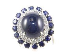 Fine Deep Blue Oval Sapphire Ring w/Diamond & Ceylon Sapphire Halo 15.8Ct 14k WG