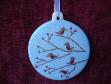 Robins and berries glittery, hand-painted ceramic Christmas tree decoration