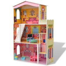 vidaXL 3-Etagen Puppenhaus Puppenstube Barbiehaus mit Möbeln Holz 73x32x116 cm