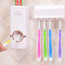 Auto Automatic Toothpaste Dispenser+ 5 Toothbrush Holder Set Wall Mount Stand MT