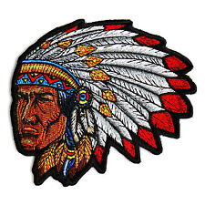 Embroidered Native American Indian Head Dress Sew or Iron on Patch Biker Patch