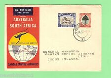 #D79.  1952 QANTAS FLIGHT COVER - FIRST SOUTH AFRICA TO AUSTRALIA