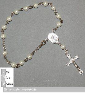 Bracelet Strand Cristiano Rosary Beads Cream Pearl 5mm New