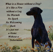 DOBERMANN DOG HARDBOARD PLAQUE TILE VERSE WATERCOLOUR PRINT SANDRA COEN ARTIST