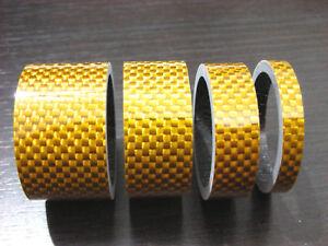 "Bike Bicycle Stem Golden Carbon Spacer 1-1/8"" 20 15 10 5mm NEW"