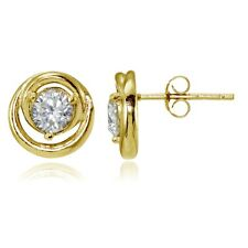 Gold Tone over Sterling Silver Cubic Zirconia Evil Eye Stud Earrings
