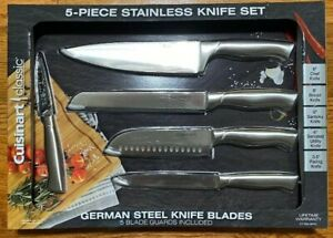 Cuisinart Classic 5-piece German Stainless Steel Knife Set w Blade Guards 5 pc