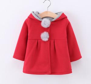 KidsToddler Baby Girls Cute Rabbit Ears Hooded jacket 0Months-4Years