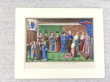 1844 Antique Print Medieval France King Charles VI Duke of Brittany Tours