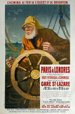 Paris à Londres, 1900 Vintage French Boat Travel Advertising Canvas Print 20x30
