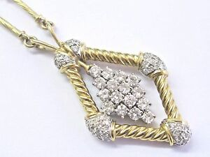 """Milros 18Kt Diamond Square Yellow Gold Necklace 2.00Ct 17"""""""