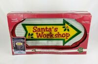 Santa's Workshop Lighted Musical Sign 3 ft Tall W/ Stand Light Sound Activated