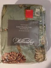 Williamsburg Somerset Botanical Lined Drapery Pair With Tie Backs