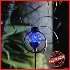 Solar Wind Spinner Garden Kinetic Sphere Light Yard Decor Windmill Outdoor Stake