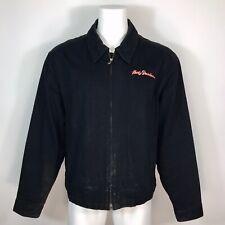 Harley Davidson Black Canvas Jacket Full Zip Spellout Jacket Mens Size XXL 2XL