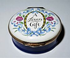 "CRUMMLES ENGLISH ENAMEL BOX - VINTAGE ""A LOVER'S GIFT"" - FLOWERS -ROSES- RIBBONS"