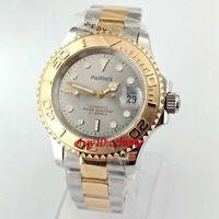 41mm Parnis gray dial Sapphire Ceramic Bezel Luminous date automatic mens watch