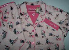 NWT PJ Salvage WARM Blush Pink CELEBRATING DOGS Flannel Pajama Set L PAWTY TIME!