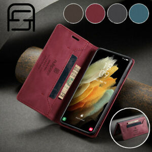 For Samsung S21 Ultra S20 S10 S9 S8 Plus Magnetic Flip Wallet Leather Case Cover