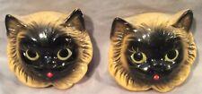 2 Vintage 1954 Miller Studio Cat Chalkware Black Gold (yellow) Kitten Face Head
