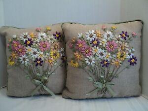 """Gorgeous, Decorative Silk Ribbon Art Pillows, 12""""X 12"""", Floral Bouquet on Burlap"""