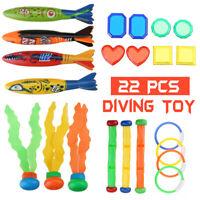 22Pcs Diving Toys Underwater Sinking Swimming Pool Kid Summer Ring Ball Fish Rod