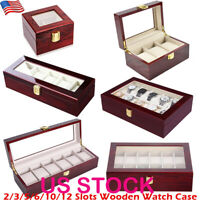 2/3/5/6/10/12 Slots Leather Watch Box Display Glass Top Jewelry Case Organizer