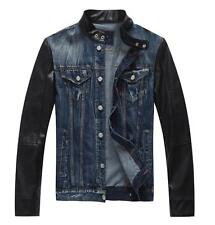 2017 Mens leather sleeve denim jacket denim jeans autumn short coat outwear