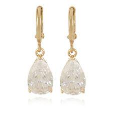Pretty 9K Yellow Gold Filled Pear Shape Teardrop Clear White CZ Dangle Earrings