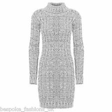 Ladies Women's Long Sleeve Polo Neck Cable Knitted Jumper Mini Dress Top 8-14 Grey SM 8-10