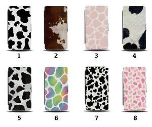 Cow Print Flip Wallet Case Cows Pattern Skin Dots Markings Colourful Pink 8015